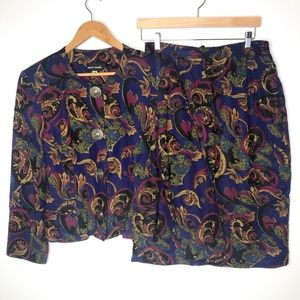 VTG 80s Bentley Harris Purple Paisley Skirt Suit